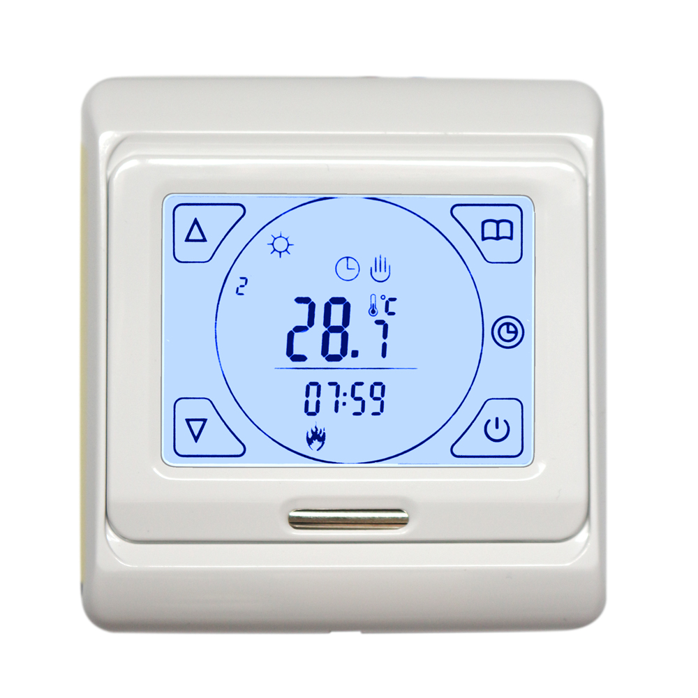 Digital touch screen RF control thermostat for manifold radiator systems