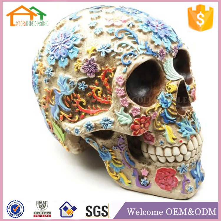 Halloween Colorful Flower Tattoo polyresin skulls for crafts