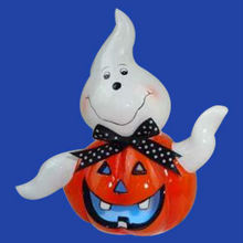 halloween decor ceramic ghost pumpkin with led