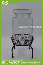 4L glass water dispenser/glass beverage dispenser with tap/glass drink dispenser/cold drink dispenser