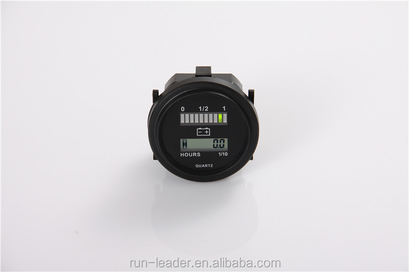QUARTZ LED Battery Indicator Digital Hour Meter for DC Powered Unit 12V&24V,24V,36V,48V,72V
