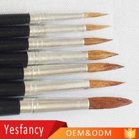 professional wool hair round shape long wood artist watercolor paint brush art set