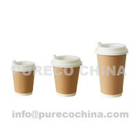 8oz 12oz 16oz double wall kraft paper coffee cups with plastic sipper lids