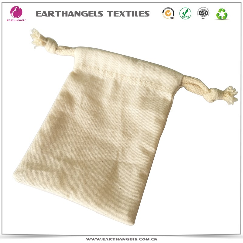 Wholesale 100%natural cotton small drawstring gift bag