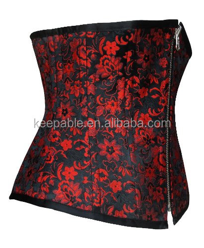 Hot Women's Waist Training Corsets Sex Photos Open Steel Boned Underbust Corset Shaperwear Zipper Waist Trainer Body Shaper