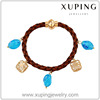 73404 Best Hot Sale Xuping Fashion Turkish Jewelry Charm Leather Bracelet with 18K Gold Plated