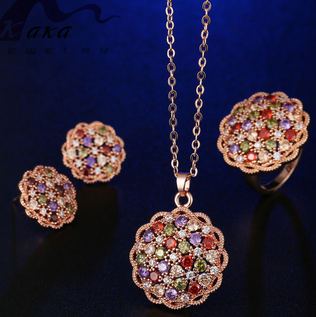 rose gold flower shape necklace set amazon beat item wedding necklace earring ring