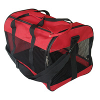 600D oxford red dog carrier with plastic mesh