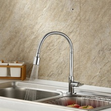 Pull out brass flexible kitchen faucet tap