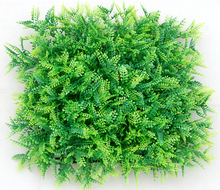 Artificial light green fern hedge fence resist UV for garden decoration plastic green wall