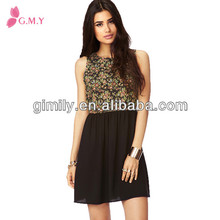 2013 mini dress women clothing summer casual wear open back 2014 flower top black chiffon sleeveless dress design 2013
