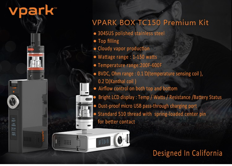 NEW TC Box Mod kit 150W VW by VPARK bestseller 2016 e cigarette shipping to Russia