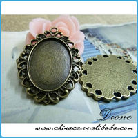 antiqued bronze retro cute oval tray cameo setting connector 25x18mm