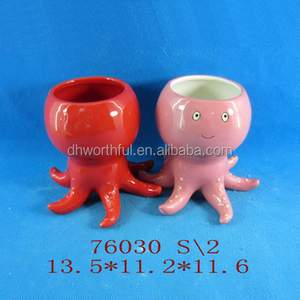 Personalized octopus shaped ceramic unique flower pot for home decoration