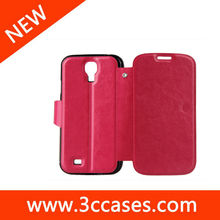 Hot Rose wallet case stand pouch for Samsung S4 i9500 ,for Samsung S4 wallet case stand pouch
