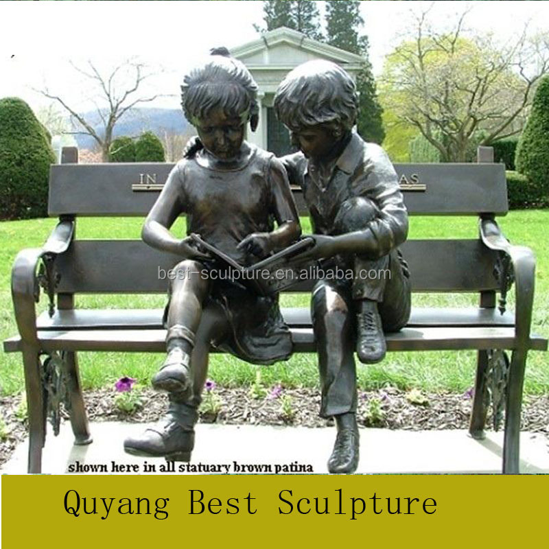 Bronze Statue Sculpture of Boy and Girl Reading Garden Metal Sculpture