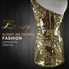 2016 Wholesale One-Shoulder Heavy Gold Sequin Beaded Short Evening Dress