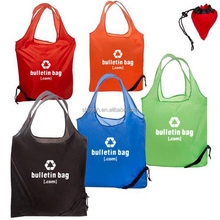 Eco-friendly Foldable Polyester Pocket Tote Shopping Bag With Drawstring Closure