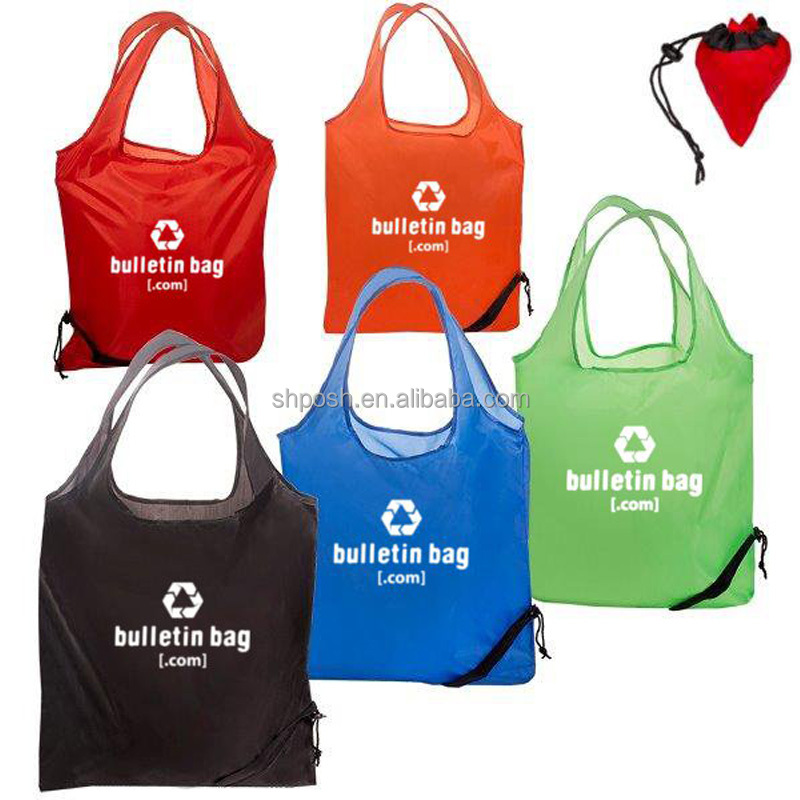 Foldable Polyester Tote Shopping Bag With Drawstring Closure