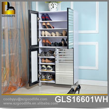 Ready to assemble luxury flat packed wooden shoe cabinet with mirror