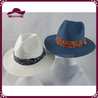 Natural Straw Trilby Hat Cartoon Print Band Festival Sun Beach Panama Hat