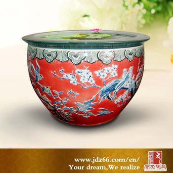 Red Glazed Engraved Birds And Flowers Porcelain Fish Bowls