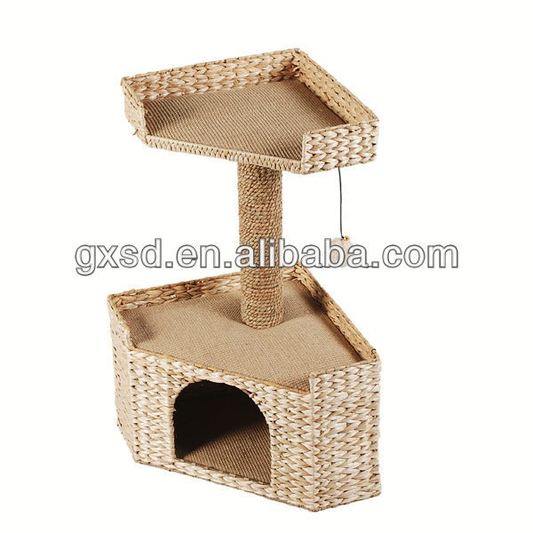 S&D hand made water hyacinth dog cribs , durable indoor wicker luxury cat house, cat cage