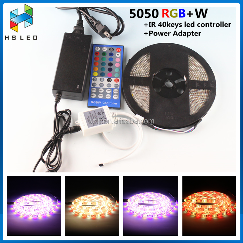 Gift package IP65 5M RGBW RGBWW 5050 LED Strip+adapter+remote