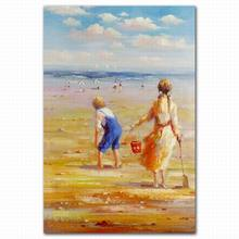 FZDEYI High quality famous beach children oil paintings on canvas for bedroom