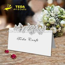white butterfly shape wedding table card tc-006