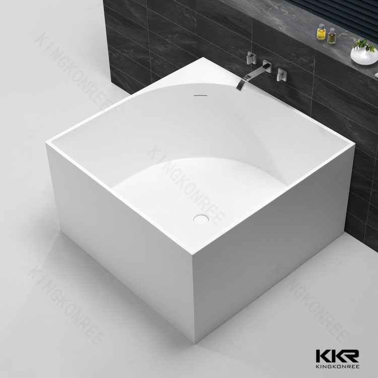 square shaped small freestanding artificial stone 1200mm bathtub