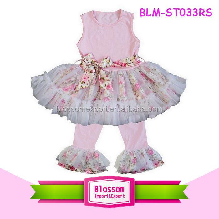 Popular Toddler Outfits High Quality children Boutique Clothing Girls Sleeveless Skirted Tops Floral Tulle Legging Outfits