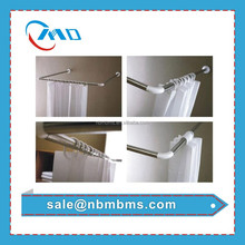U Type Easy Installation Single / Double Blister Corner Bathroom Shower Curtain Rod
