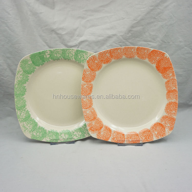 new design square hand painted stoneware main plate in dinner sets