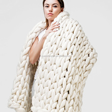 Hot selling 2017 hand knitted merino wool shawl Blanket