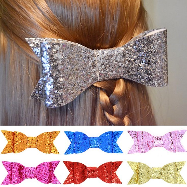 4'' Large Pale Gold Glitter Fabric Bow for Girl and Women and kids Hair Accessories Boutique Glitter Sequin Bow clips