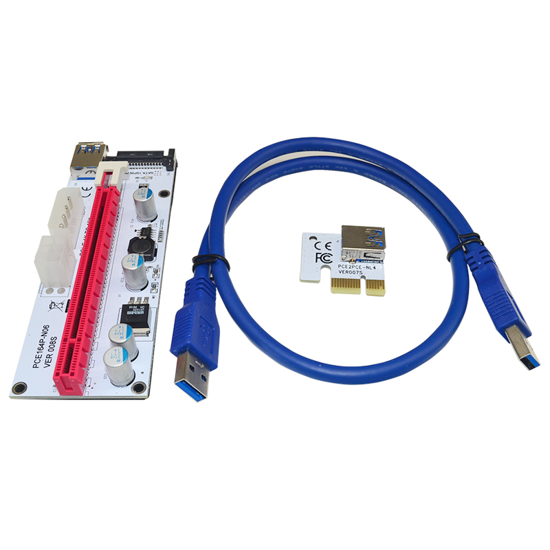 2018 New Riser Pci-e x1 x16 PCIE Riser Card With 4 Solid Capacitor