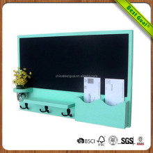 Indoor modern wall MDF message black board with key hooks and mail holder