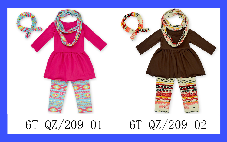 Hot Sale Long Sleeves Dress & Legging & Knot bow Headband & neckerchief set, 4pcs/set childrens boutique clothing fall 2015
