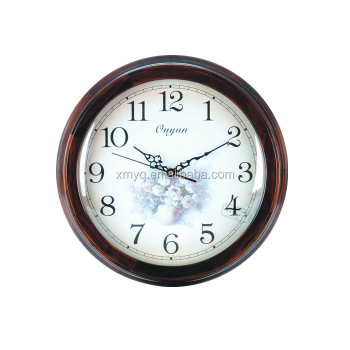 quartz 16 inch retro wooden wall clock