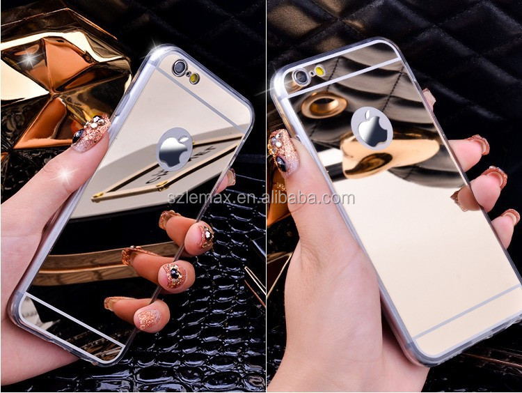 Luxury Plating Mirror Soft TPU Silicon Case For iphone 7 6 6S / 7 6 6S Plus 5 5S 4 4s Back Cover Phone Bag Cases