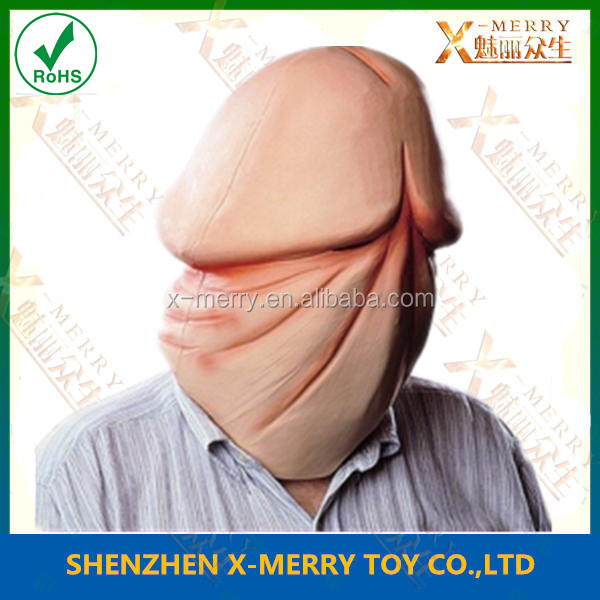 X-MERRY Rubber Latex Dick Penis Mask Halloween Full Head Costume Mask Freak Mask For Carnival