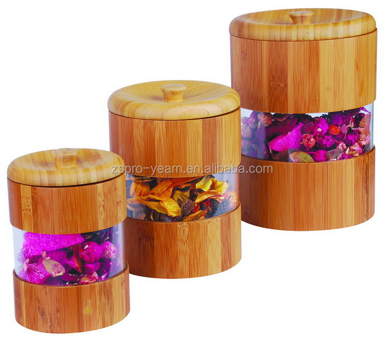 Cylinder Shape Airtight Bamboo Wood Canister with Removable Jar Lid on Bottle Top Acrylic Sheet on Box Side of Food Storage Bin