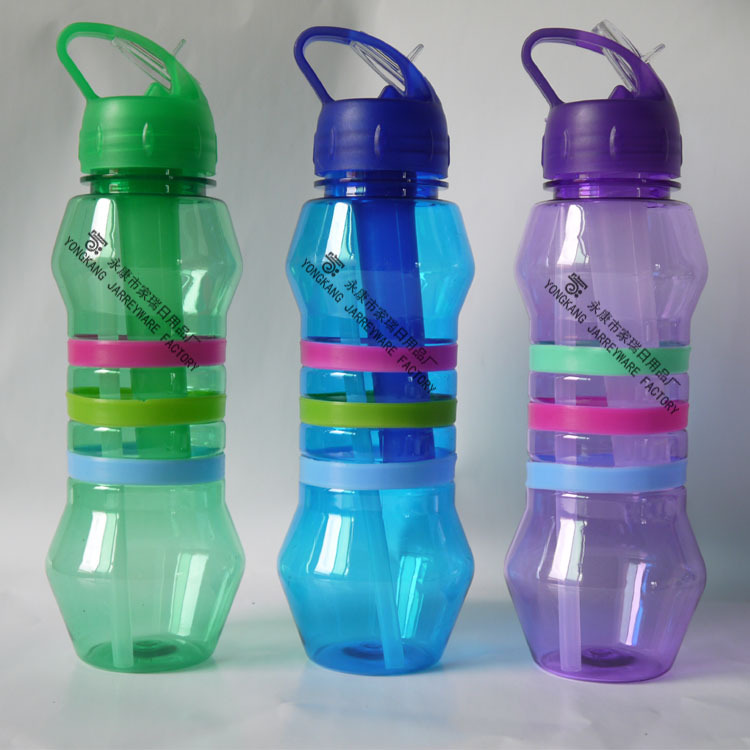 Hot Sales 2015 New Products Plastic Sport Water Bottle With Straw And Ice Sticker