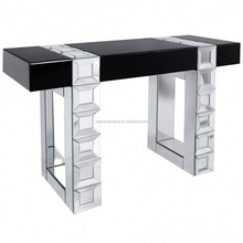 Black Glass Table Top Decorative Mirrored Legs and Frame Console Table