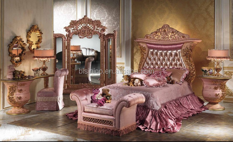European Imperial Wood Carved Children Bed, Metal Decorated Upholstered Twin Bed for Kids, Antique Gold Design Children Bed