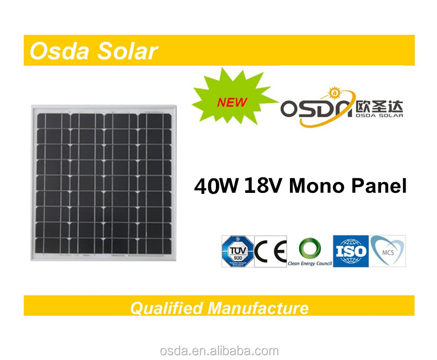 Photovoltaic 40W Mono Osda Solar Panel price per watt solar panels