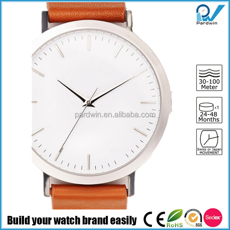 Casual lifestyle timepieces polished steel case japan movement italian tan leather band watch