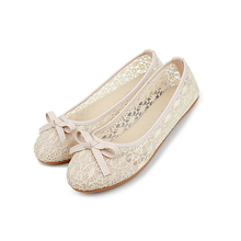 Sunshiny OEM elegant ladies flat mesh casual dance shoes with bowknot