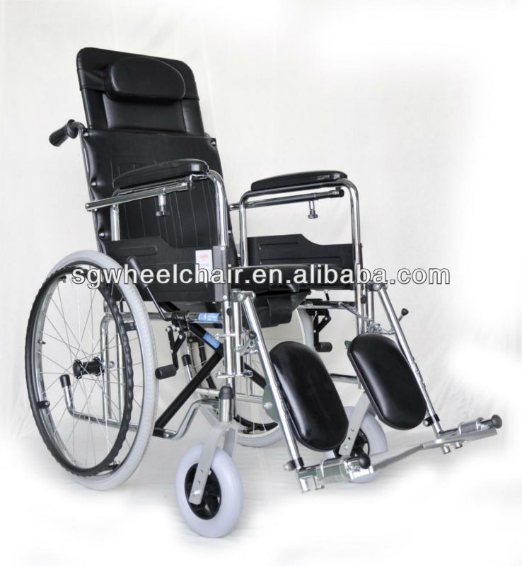 HIGH BACK Folding manual steel wheelchair with FDA approved